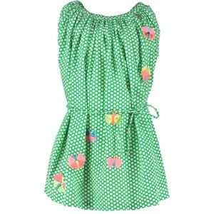 Mim-Pi Butterfly Green Dress Sz 122 (7Y)  EUC